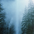 Multnomah Falls Through The Clouds by Rick Bures