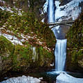 Multnomah Falls With Snow by Mike Penney