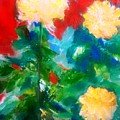 Mums On Red by Patricia Taylor