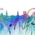 Munich Skyline Silhouette An Impressionistic Splash - Dream Cities Series by M Bleichner