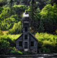 Munising Grand Island Lighthouse Upper Peninsula Michigan Vertical 01 by Thomas Woolworth
