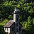 Munising Grand Island Lighthouse Upper Peninsula Michigan Vertical 02 by Thomas Woolworth