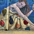 Mural Of A Woman In A Fruit Dress by John Haldane