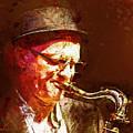 Music - Jazz Sax Player With A Hat by Arthur Babiarz