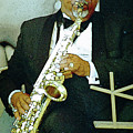 Music Man Saxophone 2 by Linda  Parker