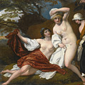 Musidora And Her Two Companions Sacharissa And Amoret At Their Bath Espied By Damon by Benjamin West