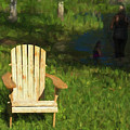 Muskoka Chair And Mother With Daughter by Les Palenik