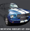 Mustang Shelby Gt-350, Blue And White Classic Car, Gift For Men by Drawspots Illustrations