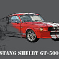 Mustang Shelby Gt500 Red, Handmade Drawing, Original Classic Car For Man Cave Decoration by Drawspots Illustrations
