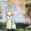 My Best Friend Baby Rabbit Baby Owl Abstract Art  by Itaya Lightbourne