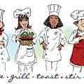 My Chefs In A Row-ii by Shari Warren