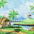 My First Landscape Watercolor Painting At The Age Of 18 by Alban Dizdari