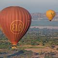 Myanmar. Bagan. Hot Air Balloons. In The Air. by Vadim K