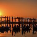 Myanmar. Taungthaman Lake. U Bein Bridge. Sunset. by Vadim K
