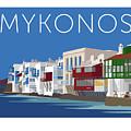 Mykonos Little Venice - Blue by Sam Brennan