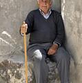 Mykonos Man With Walking Stick by Madeline Ellis