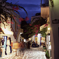 Mykonos Town At Night by Steve Outram