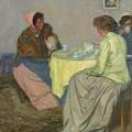 Myron G. Barlow 1873 - 1937 Dutch Women Drinking Coffee by Myron G Barlow
