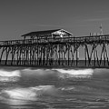 Myrtle Beach Pier Panorama In Black And White by Ranjay Mitra