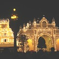 Mysore Palace Main Gate Temple Gloriously Lit At Night by Usha Shantharam