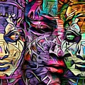 Mystic City Faces - Version B  by Daniel Arrhakis