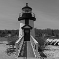 Mystic Seaport Lighthouse Entry In Black And White by Brian MacLean