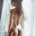 Naked Back Of A Beautiful Half Nude Woman Standing By The Window by Awen Fine Art Prints