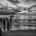 Naples Sunset In Black And White by Paul Quinn