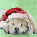 Napping Golden Retriever Christmas Puppy by Donna Tuten