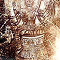Illuminated Narasimha Dev In Sepia by Michael African Visions