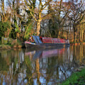 Narrow Boat On Wey Navigation - P4a16008 by Dean Wittle