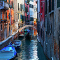 Narrow Canal View Venice by George Oze