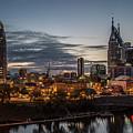 Nashville Broadway Street Shelby Street Bridge Downtown Cityscape Art by Reid Callaway