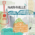 Nashville Cityscape- Art By Linda Woods by Linda Woods