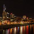 Nashville Skyline Nite Lights Broadway Street Cityscape Art by Reid Callaway