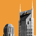Nashville Skyline At And T Batman Building - Orange by DB Artist