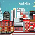 Nashville Tennessee Horizontal Skyline by Karen Young