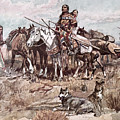 Native Americans Plains People Moving Camp by Charles Marion Russell