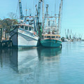 Nautical Aquas At The Harbor by Debra and Dave Vanderlaan