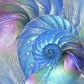 Nautilus Shells Blue And Purple by Gill Billington