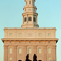 Nauvoo Lds Temple Sunset With Hyrum And Joseph Smith Bronze Statue by Kim Corpany
