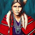 Navajo Woman In Red by Lynn Morgan -                            L L Morgan Art