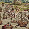 Naval Combat by Theodore de Bry