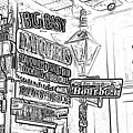 Neon Sign On Bourbon Street Corner French Quarter New Orleans Black And White Photocopy Digital Art by Shawn O'Brien