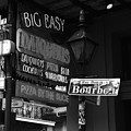 Neon Sign On Bourbon Street Corner French Quarter New Orleans Black And White by Shawn O'Brien