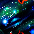 Neon Stars, Green Galaxy And Ufo by Sofia Metal Queen