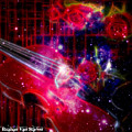 Neons Violin With Roses With Space Effect by Ruahan Van Staden