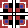 Neoplasticism Symmetrical Pattern In Well Read Red by Heidi De Leeuw