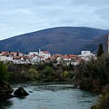 Neretva River And Mostar City And Hills With Mosque Minaret Bosnia Herzegovina by Imran Ahmed