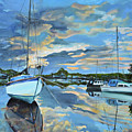 Nestled In For The Night At Mylor Bridge - Cornwall Uk - Sailboat  by Jan Dappen